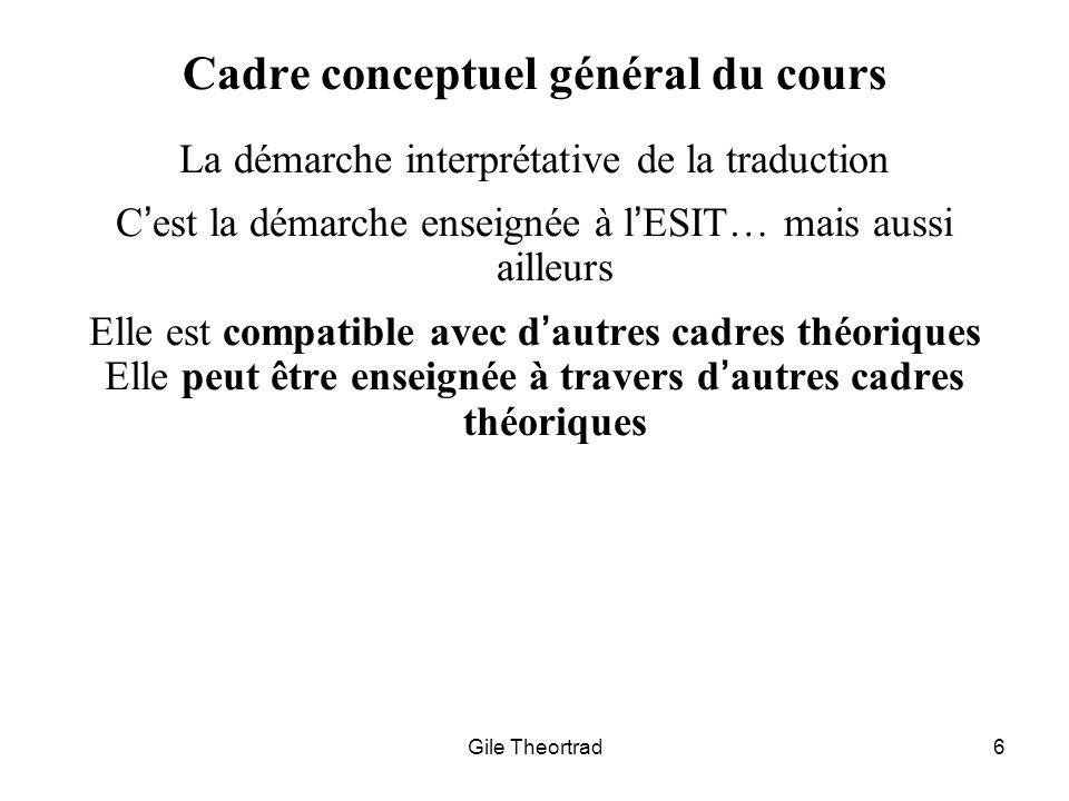 Cadre conceptuel général du cours