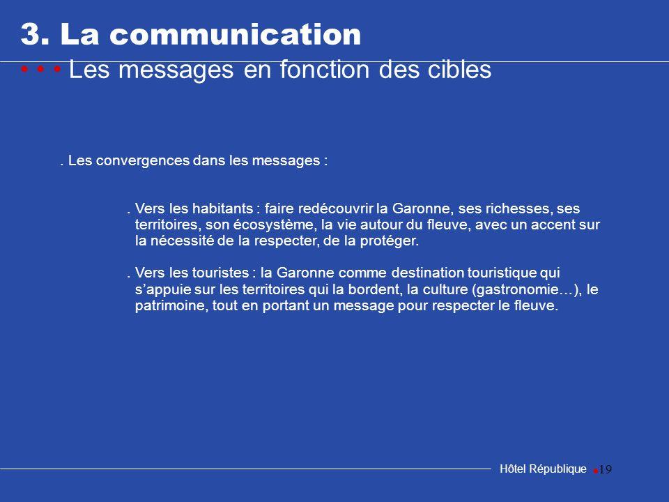 3. La communication • • • Les messages en fonction des cibles •