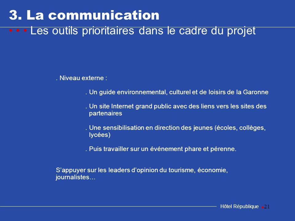 samedi 25 mars 20173. La communication. • • • Les outils prioritaires dans le cadre du projet. . Niveau externe :