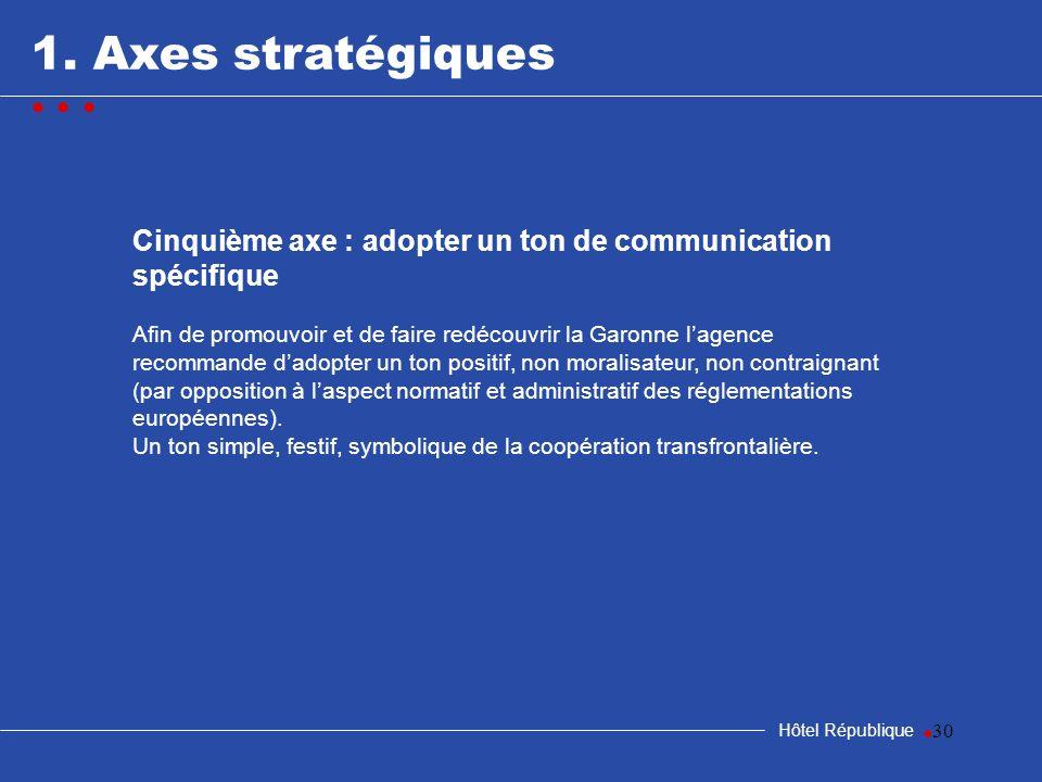 samedi 25 mars 2017 1. Axes stratégiques. • • • Cinquième axe : adopter un ton de communication spécifique.