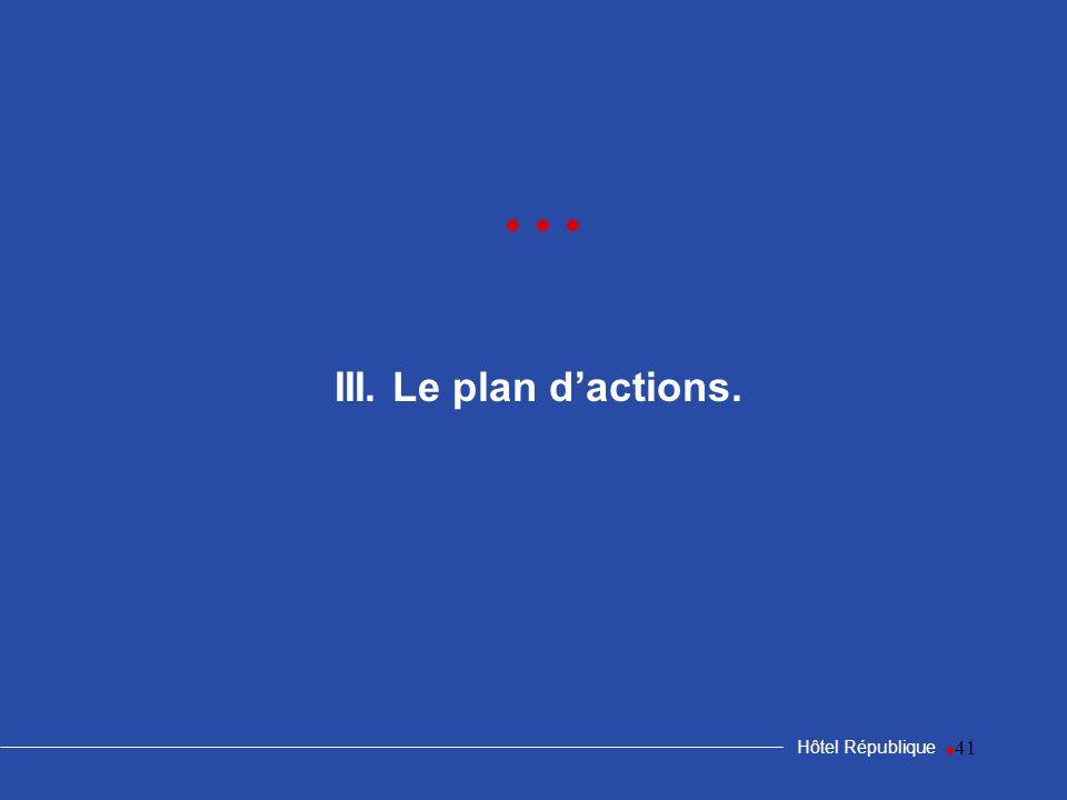 • • • III. Le plan d'actions. Hôtel République •