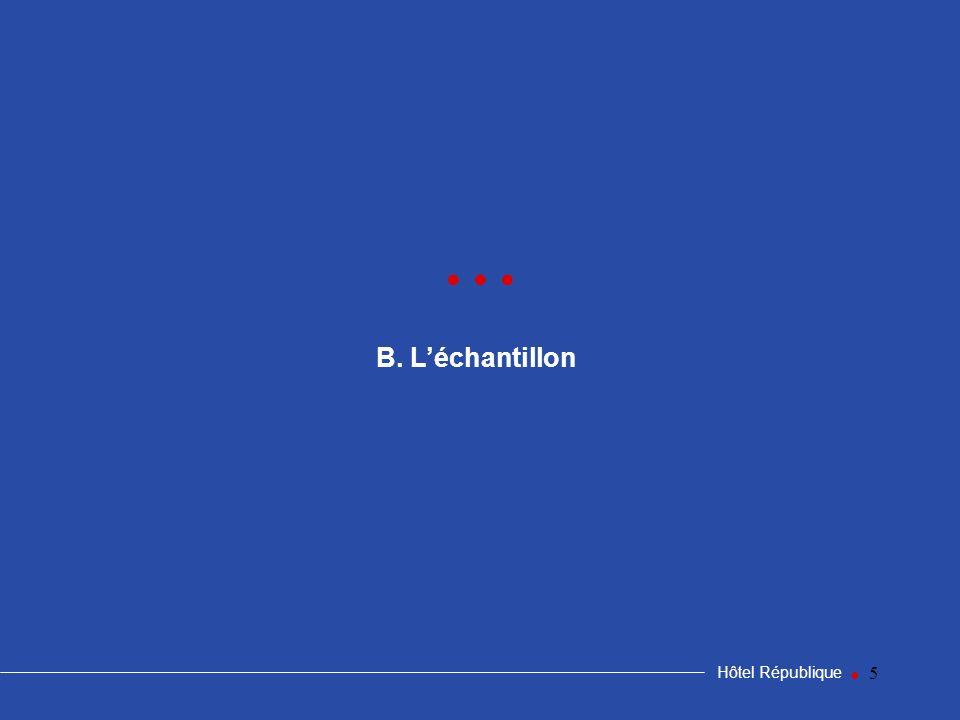 • • • B. L'échantillon Hôtel République •