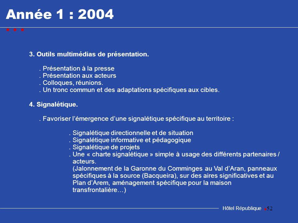 Année 1 : 2004 • • • • 3. Outils multimédias de présentation.