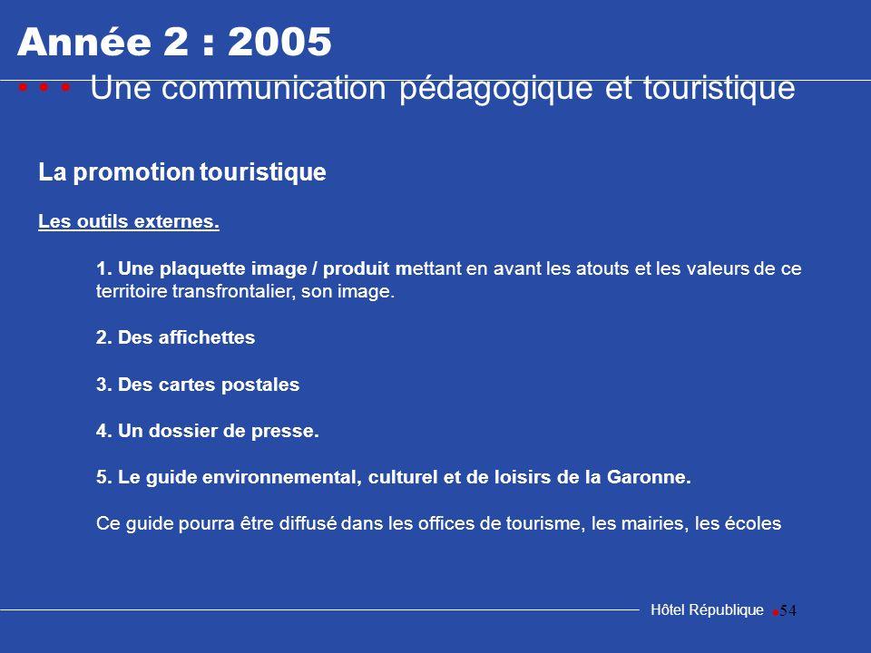 Année 2 : 2005 • • • Une communication pédagogique et touristique