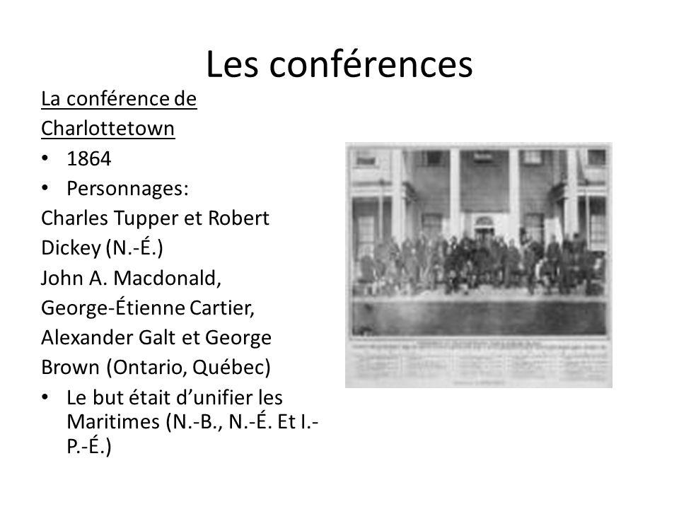 Les conférences La conférence de Charlottetown 1864 Personnages: