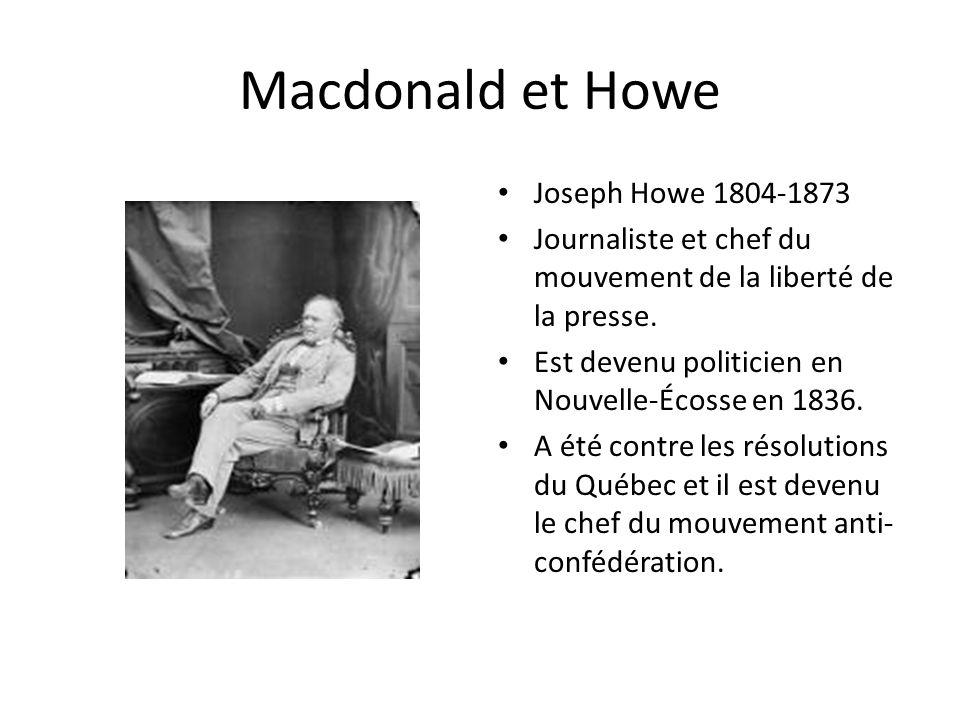 Macdonald et Howe Joseph Howe 1804-1873