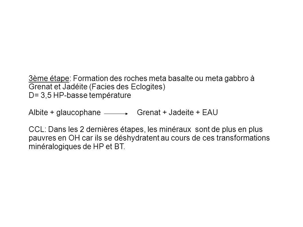 3ème étape: Formation des roches meta basalte ou meta gabbro à Grenat et Jadéite (Facies des Eclogites)