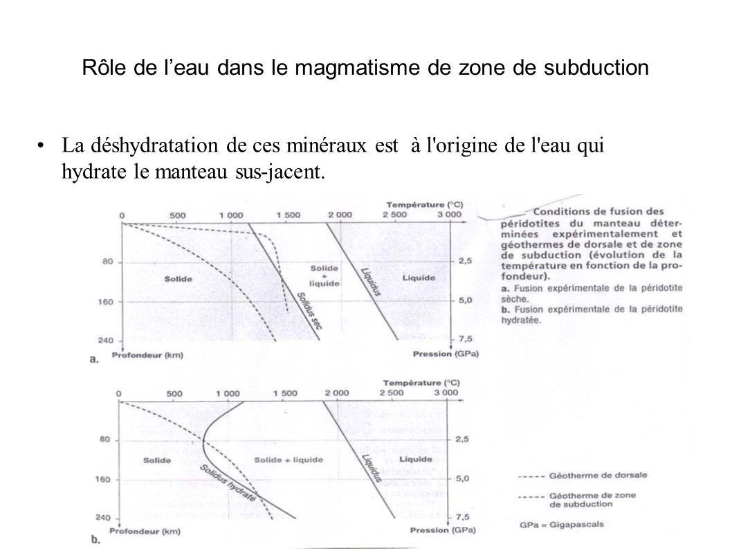 Rôle de l'eau dans le magmatisme de zone de subduction