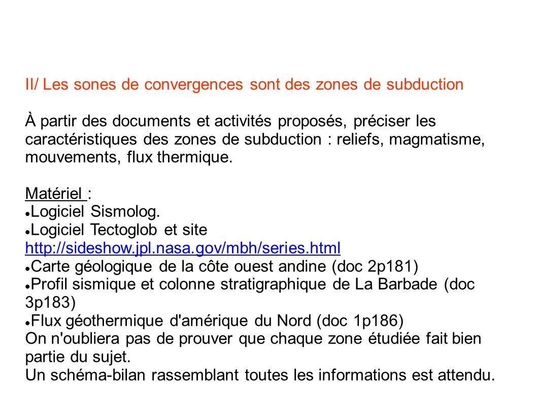 II/ Les sones de convergences sont des zones de subduction