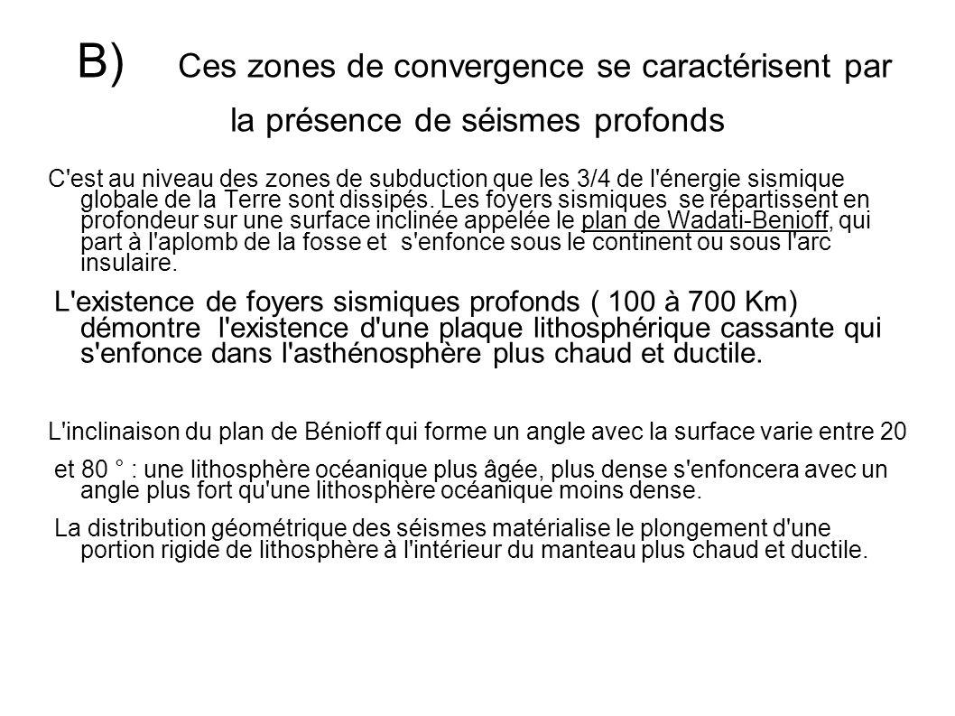 B) Ces zones de convergence se caractérisent par la présence de séismes profonds