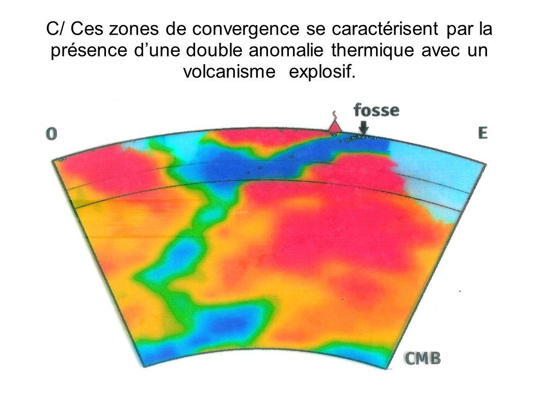 C/ Ces zones de convergence se caractérisent par la présence d'une double anomalie thermique avec un volcanisme explosif.