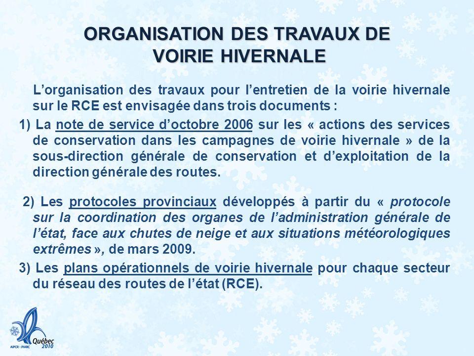 ORGANISATION DES TRAVAUX DE VOIRIE HIVERNALE