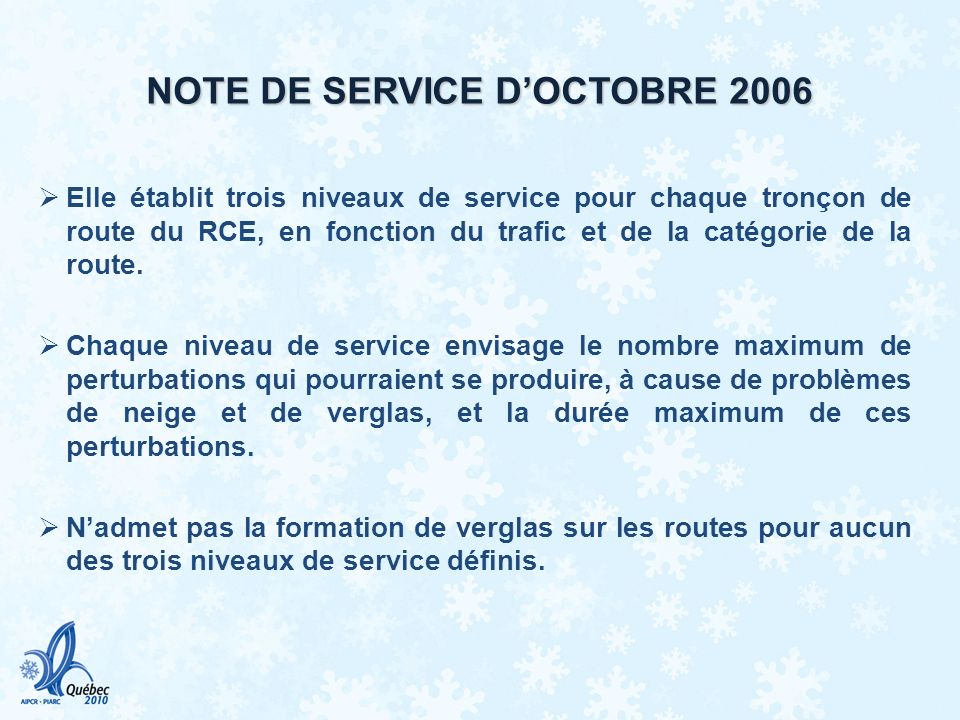 NOTE DE SERVICE D'OCTOBRE 2006