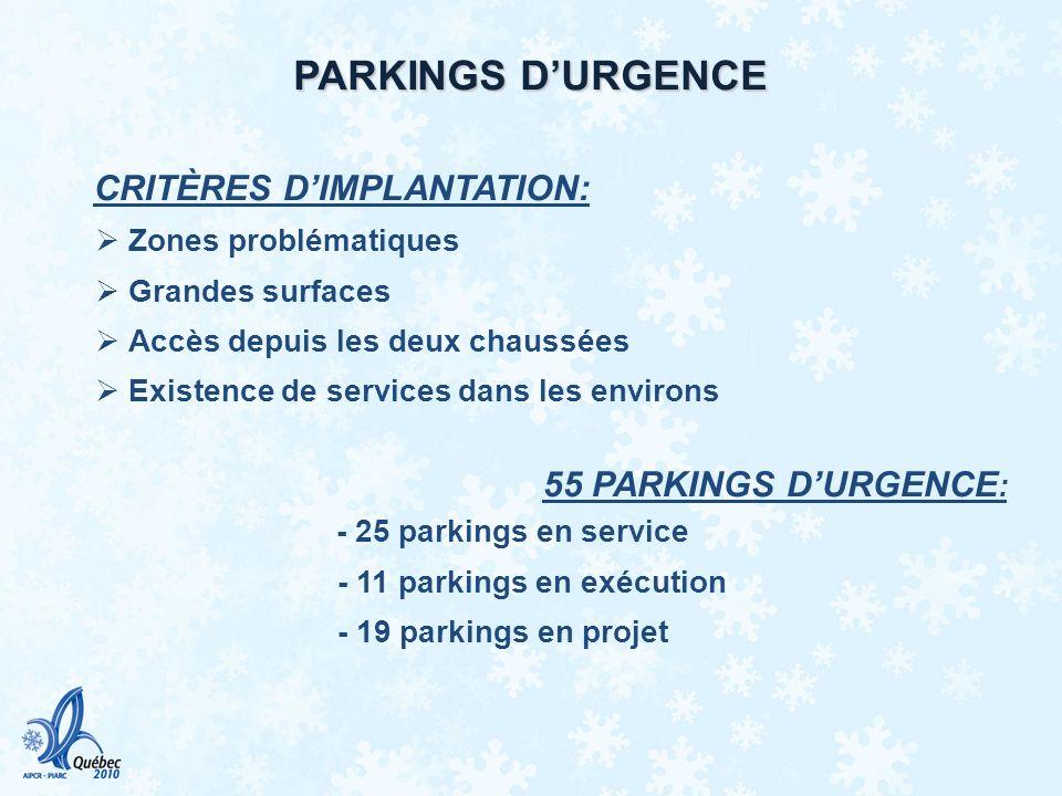 PARKINGS D'URGENCE CRITÈRES D'IMPLANTATION: Zones problématiques