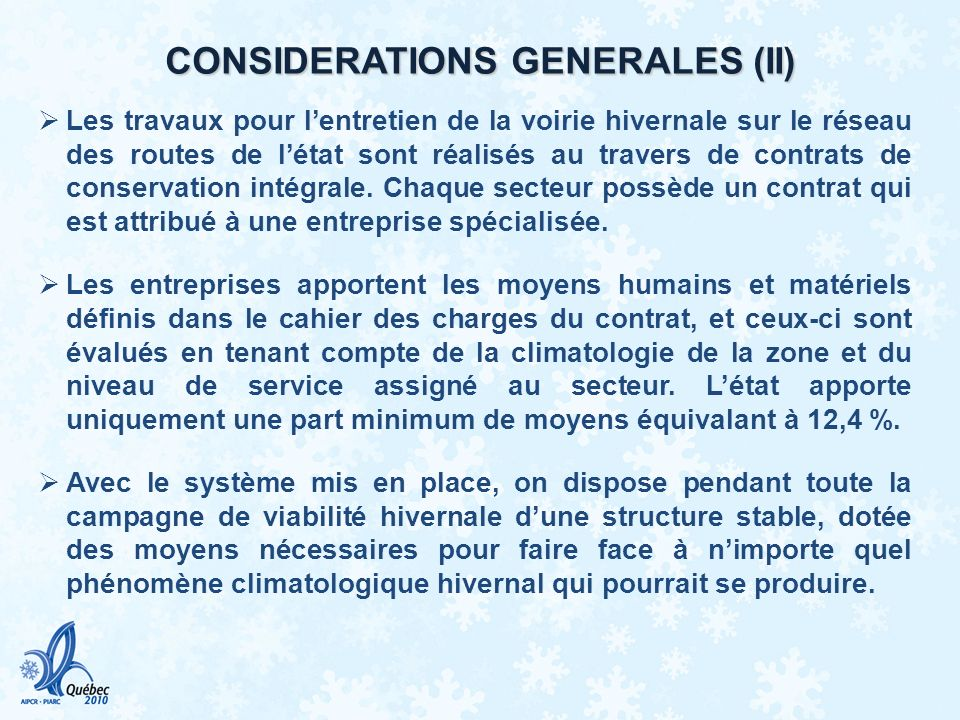 CONSIDERATIONS GENERALES (II)
