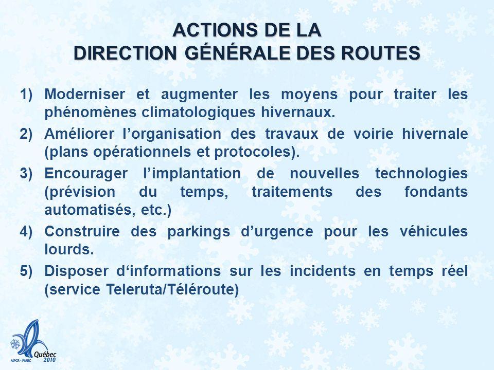 ACTIONS DE LA DIRECTION GÉNÉRALE DES ROUTES
