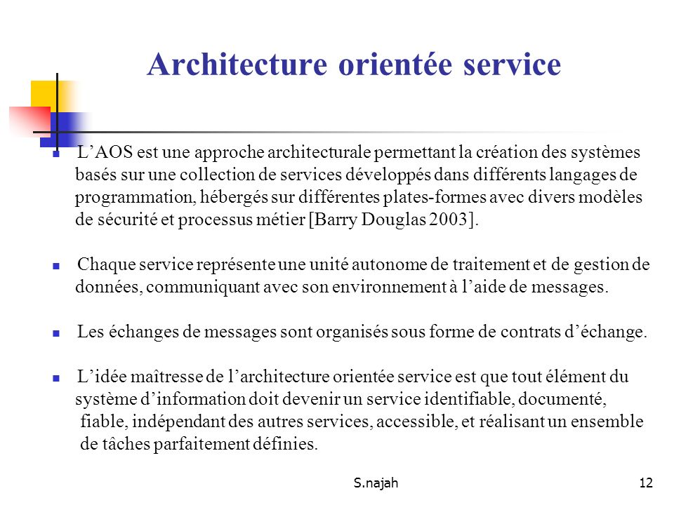 Web service said najah ppt t l charger for Architecture orientee service