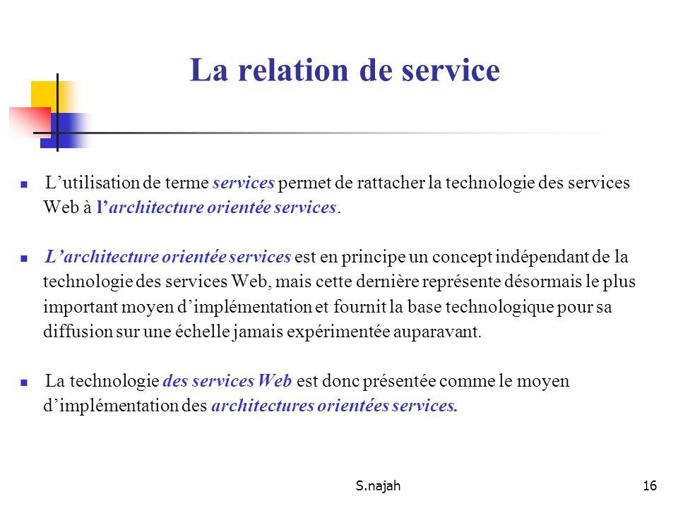 La relation de service L'utilisation de terme services permet de rattacher la technologie des services.