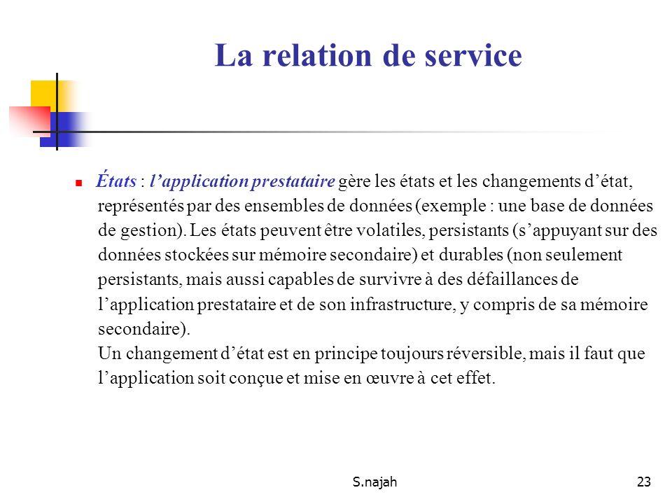 La relation de service États : l'application prestataire gère les états et les changements d'état,