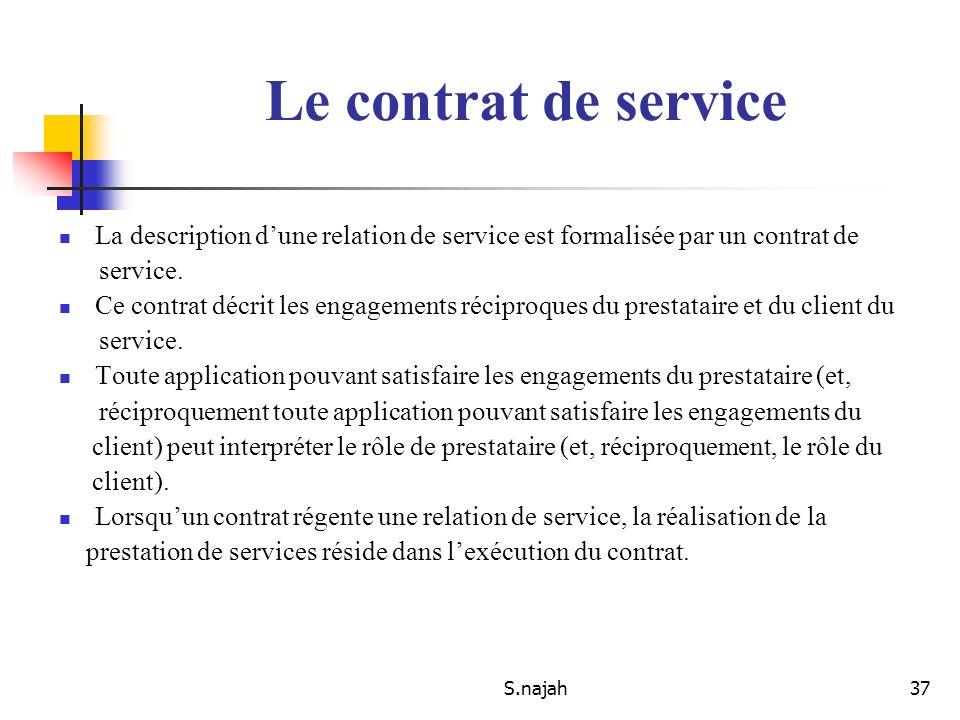 Le contrat de service La description d'une relation de service est formalisée par un contrat de. service.