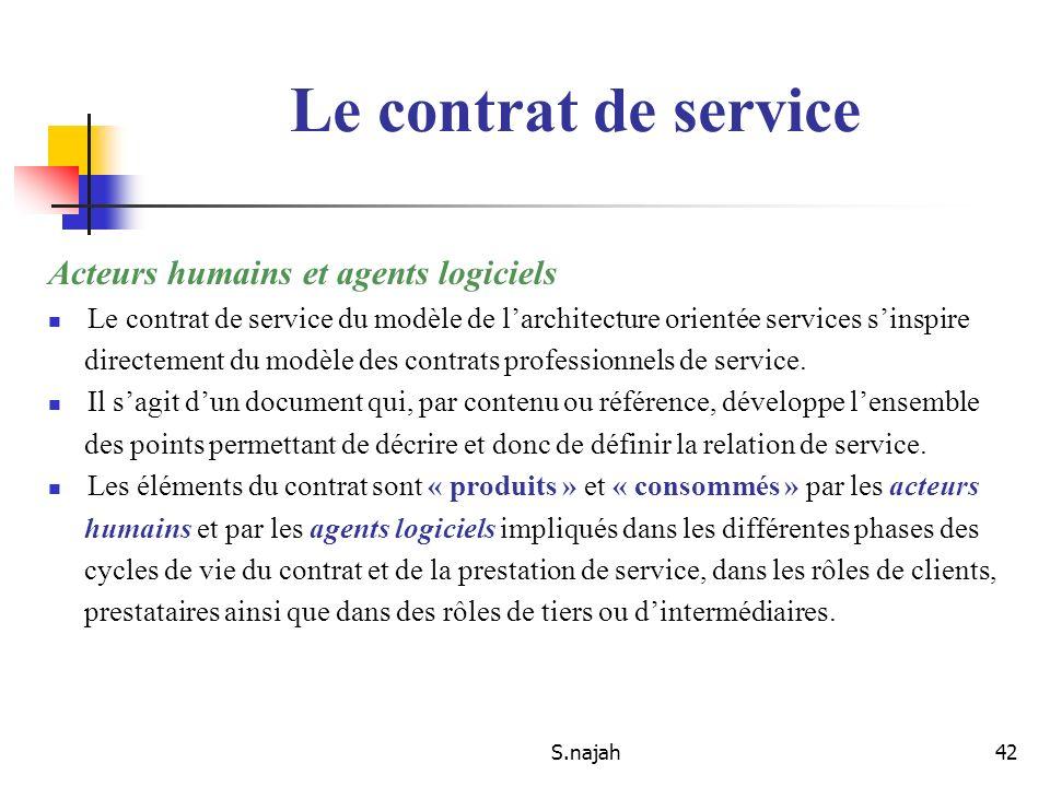 Le contrat de service Acteurs humains et agents logiciels
