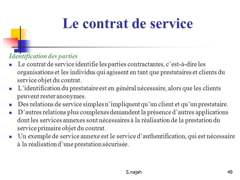 Le contrat de service Identification des parties