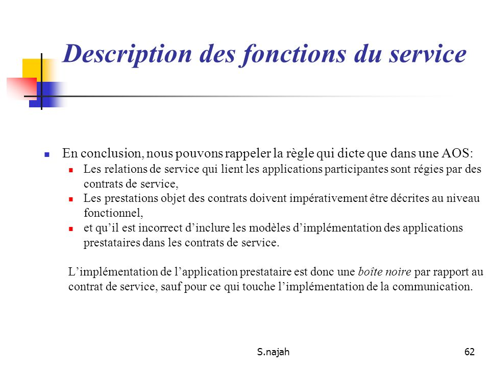Description des fonctions du service