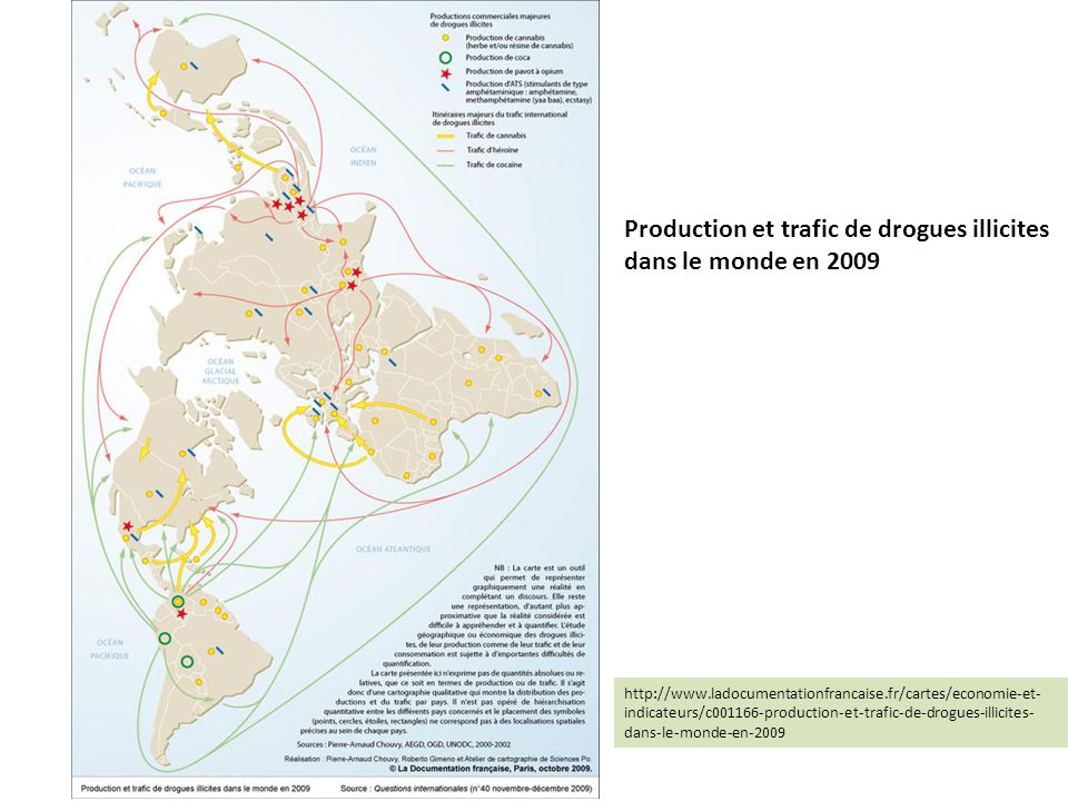 Production et trafic de drogues illicites dans le monde en 2009