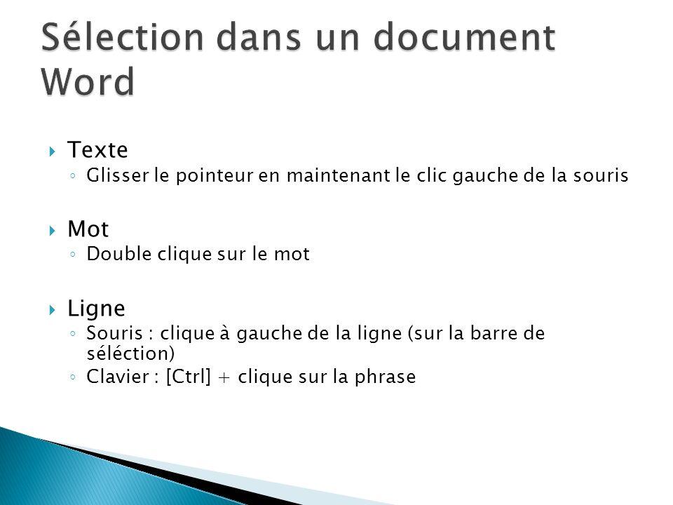Sélection dans un document Word
