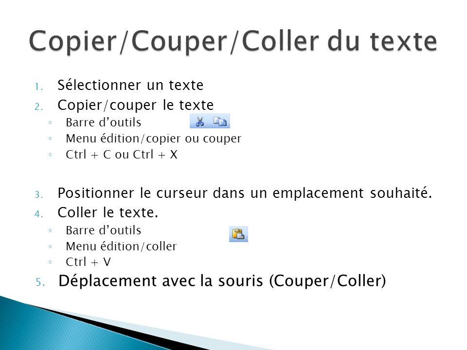 Copier/Couper/Coller du texte