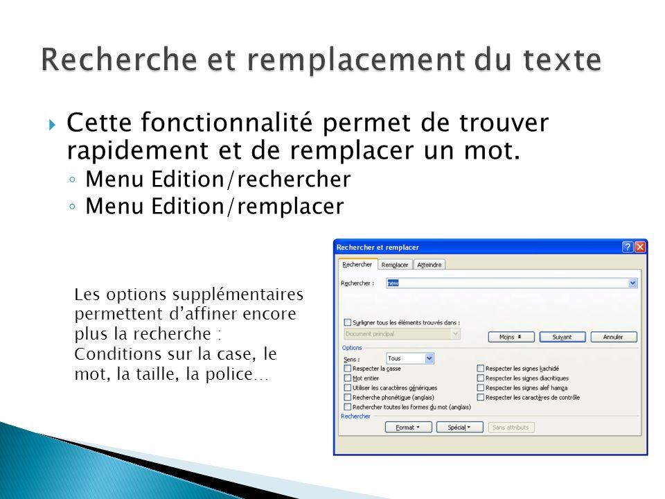 Recherche et remplacement du texte
