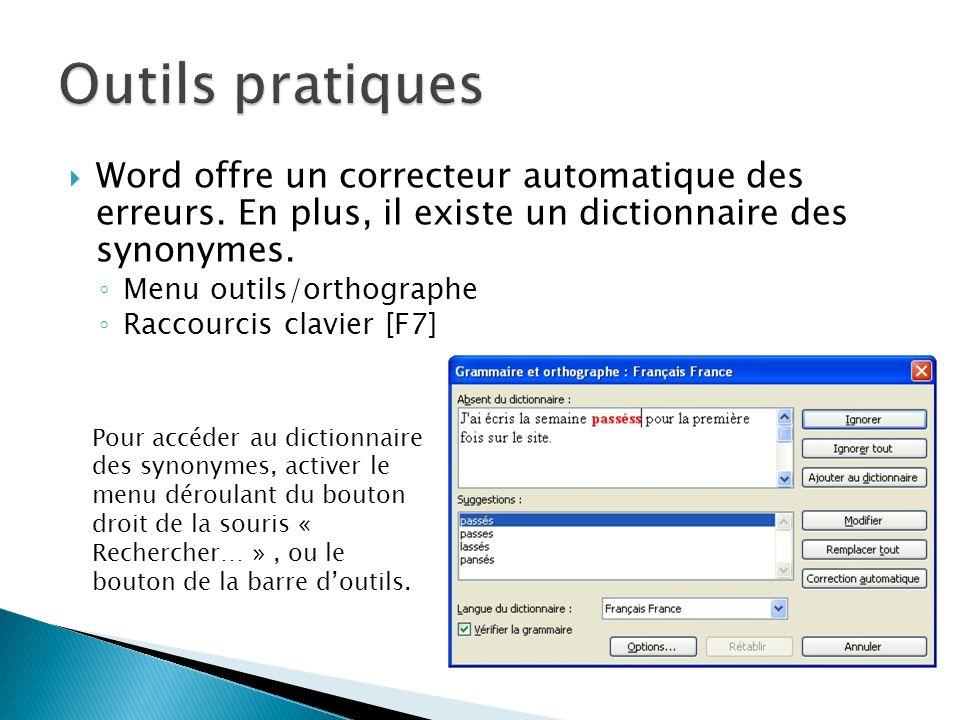Outils pratiques Word offre un correcteur automatique des erreurs. En plus, il existe un dictionnaire des synonymes.