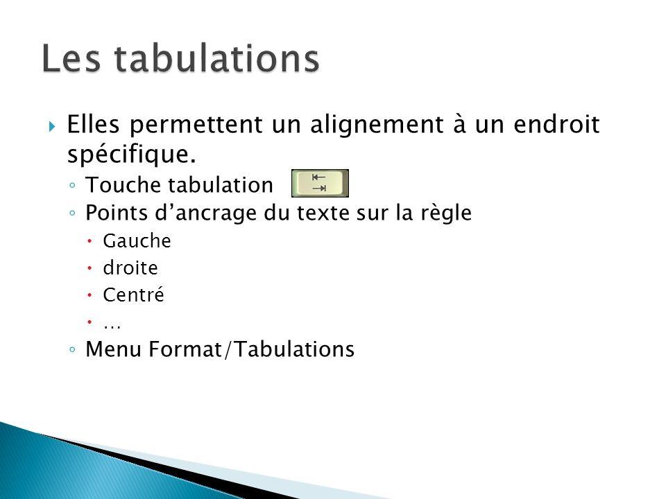 Les tabulations Elles permettent un alignement à un endroit spécifique. Touche tabulation. Points d'ancrage du texte sur la règle.