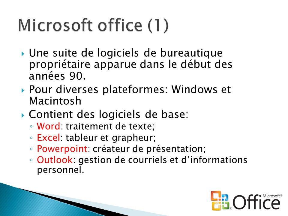 Microsoft office (1) Une suite de logiciels de bureautique propriétaire apparue dans le début des années 90.