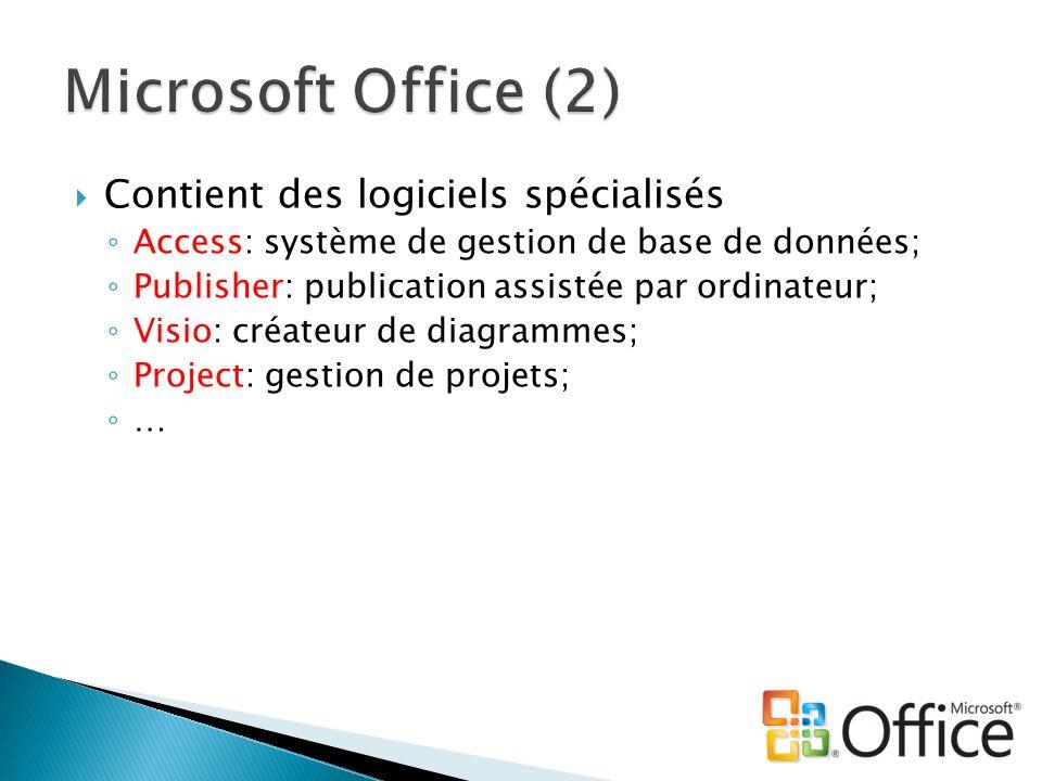 Microsoft Office (2) Contient des logiciels spécialisés