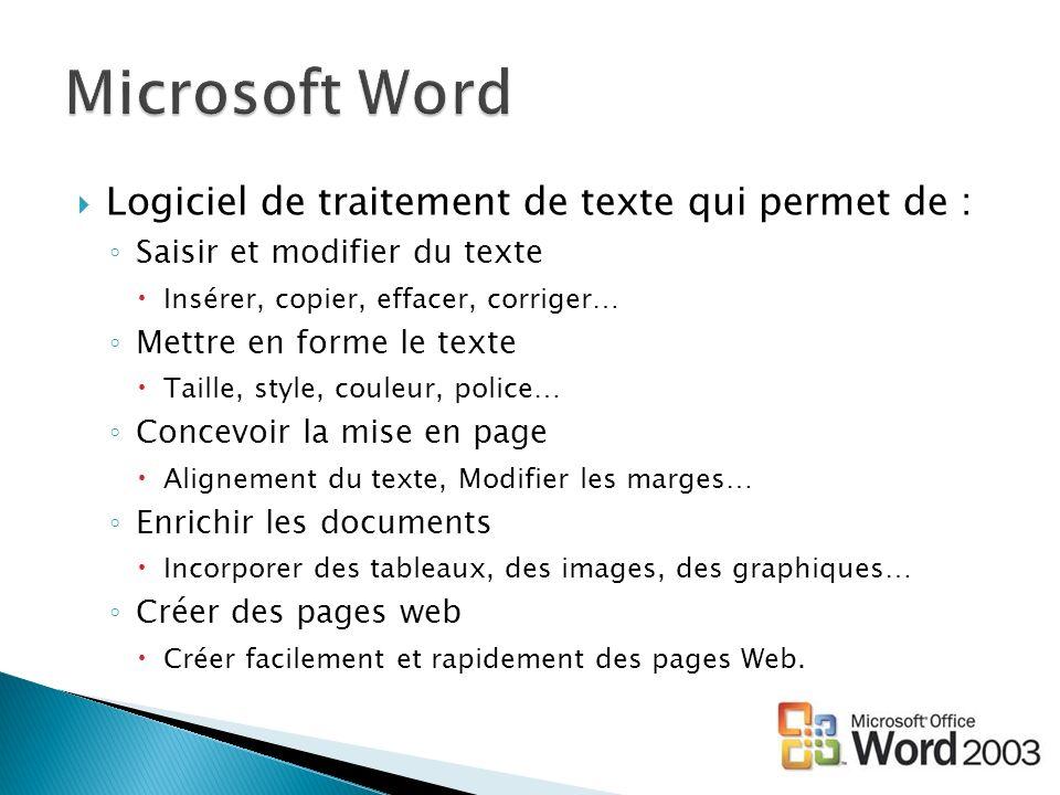 Microsoft Word Logiciel de traitement de texte qui permet de :