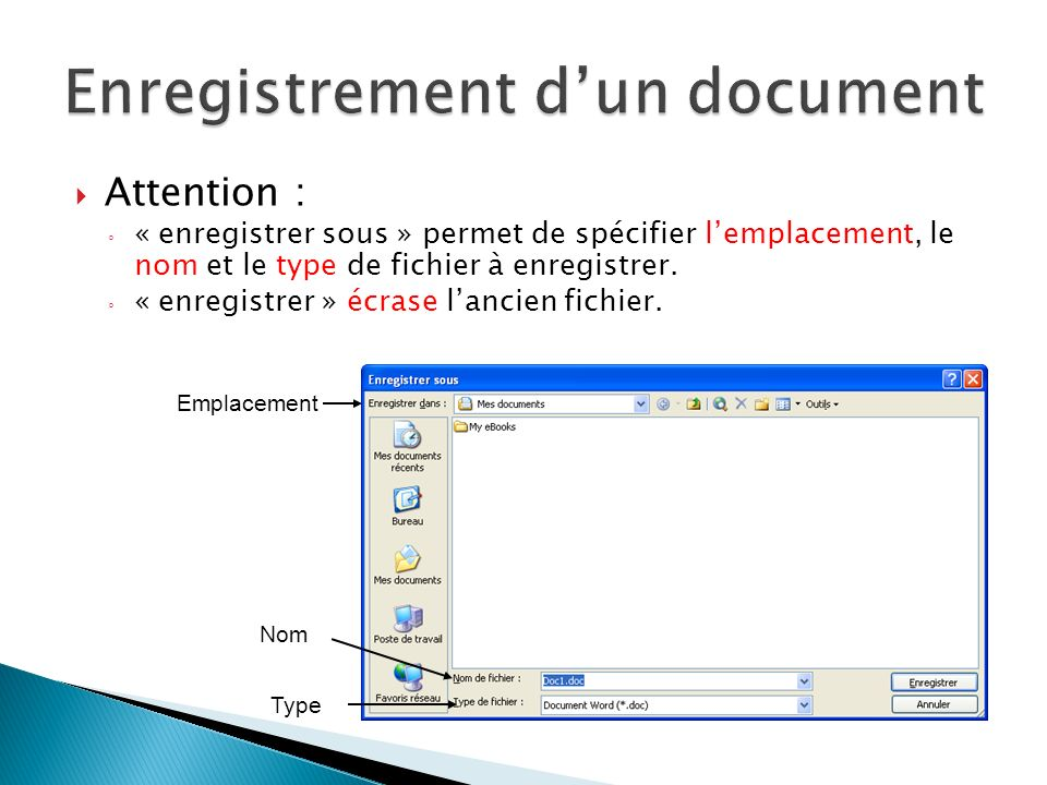 Enregistrement d'un document