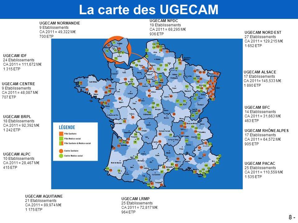 La carte des UGECAM UGECAM NPDC UGECAM NORMANDIE 19 Etablissements