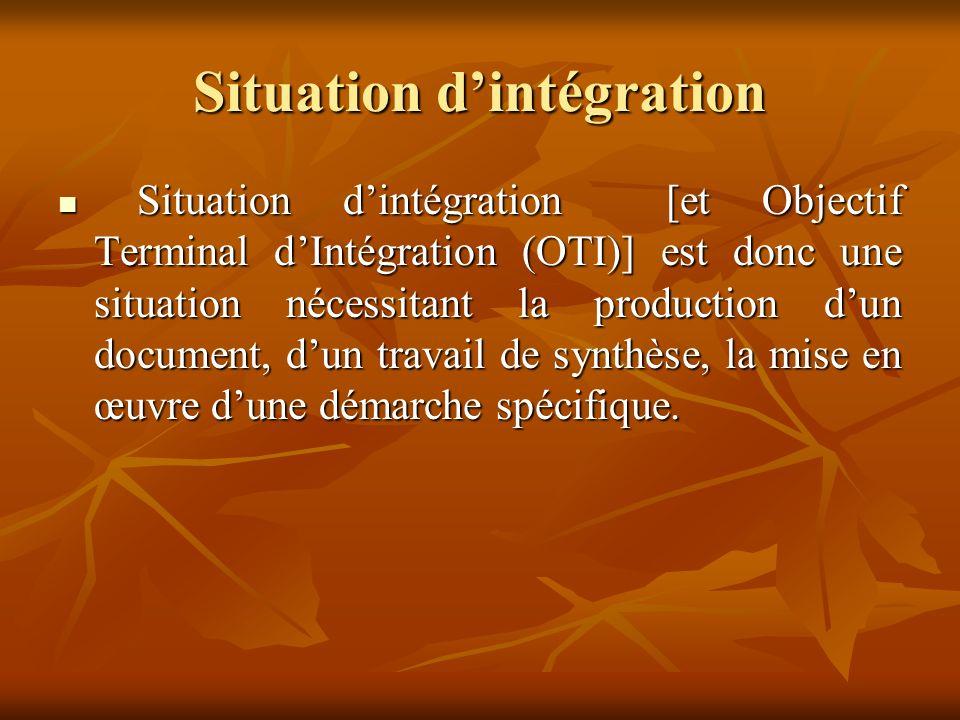 Situation d'intégration