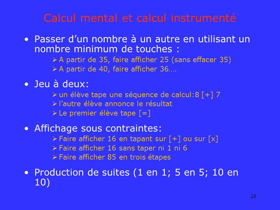 Calcul mental et calcul instrumenté