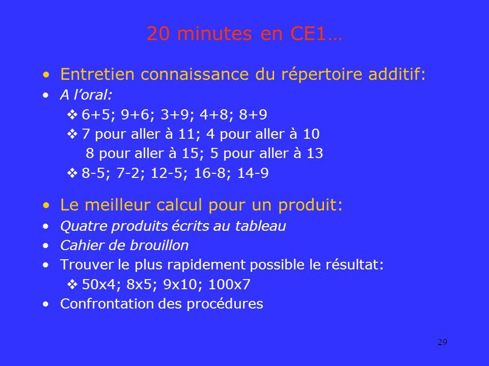 20 minutes en CE1… Entretien connaissance du répertoire additif: