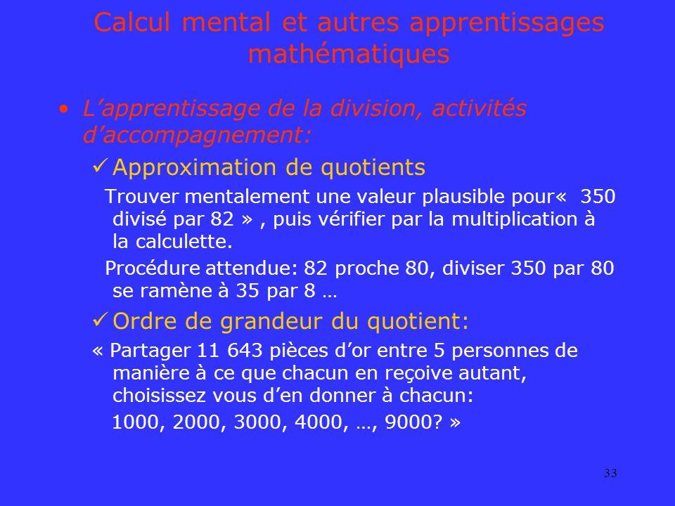 Calcul mental et autres apprentissages mathématiques