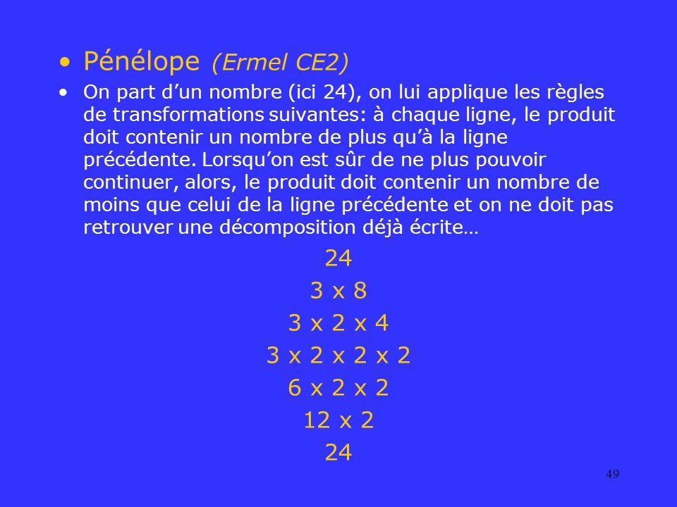 Pénélope (Ermel CE2) 24 3 x 8 3 x 2 x 4 3 x 2 x 2 x 2 6 x 2 x 2 12 x 2