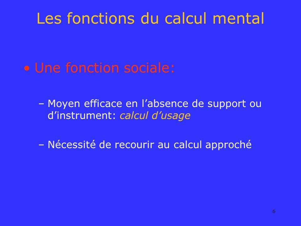 Les fonctions du calcul mental