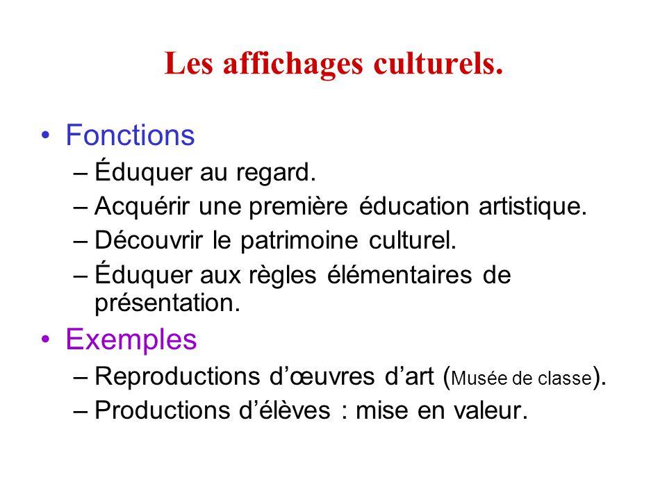 Les affichages culturels.
