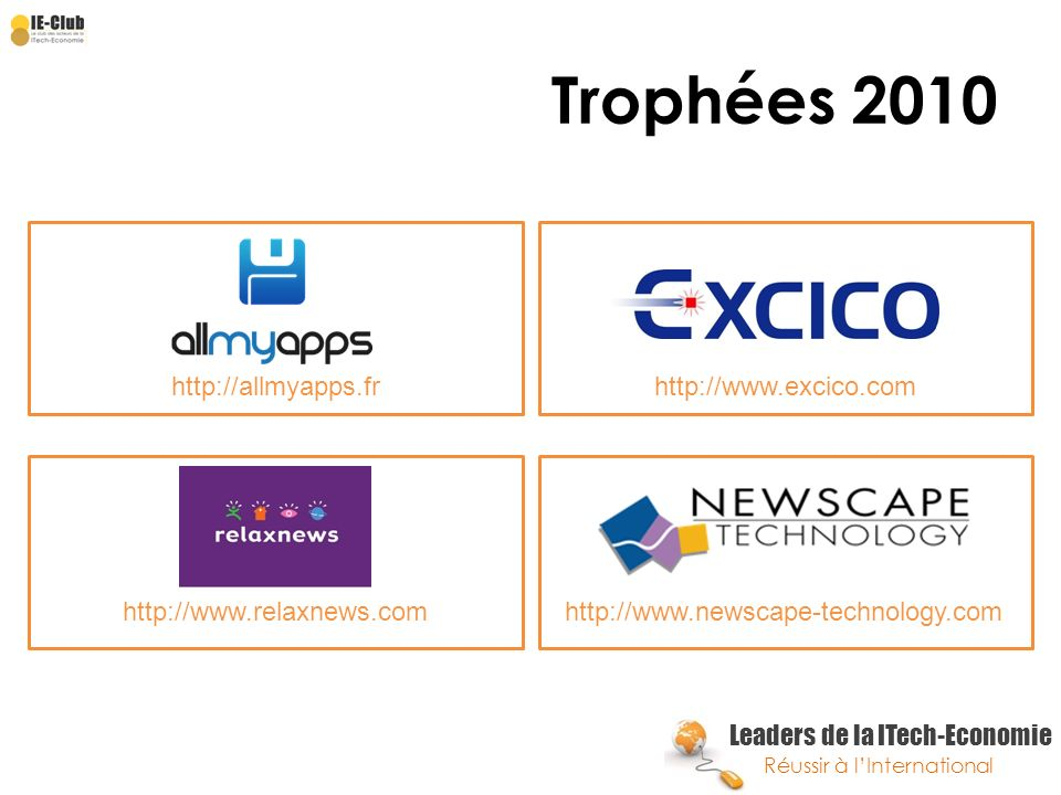 Trophées 2010 http://allmyapps.fr http://www.excico.com