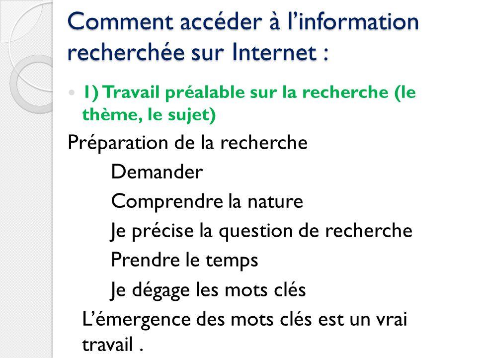 Comment accéder à l'information recherchée sur Internet :