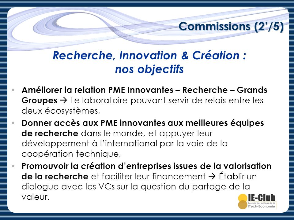 Recherche, Innovation & Création : nos objectifs
