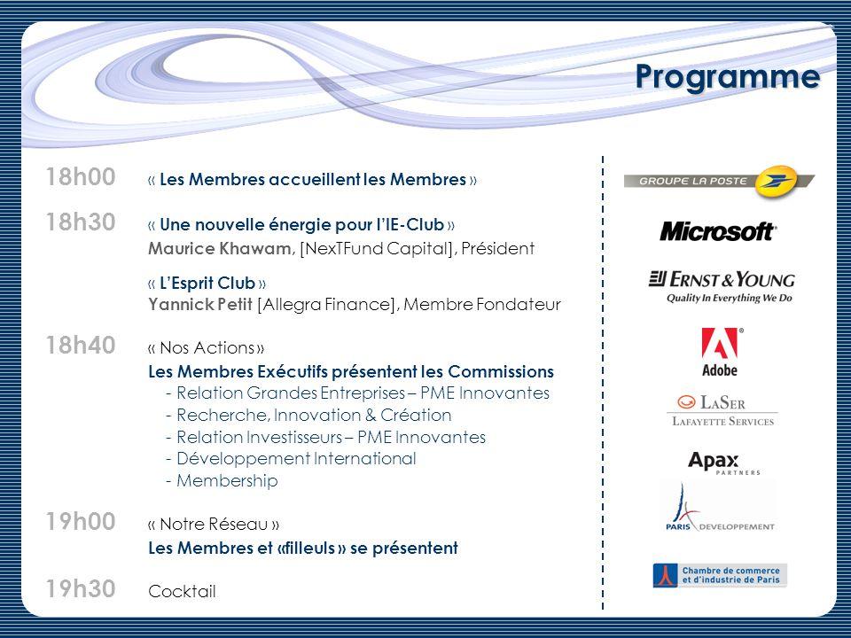 Programme 18h00 « Les Membres accueillent les Membres »