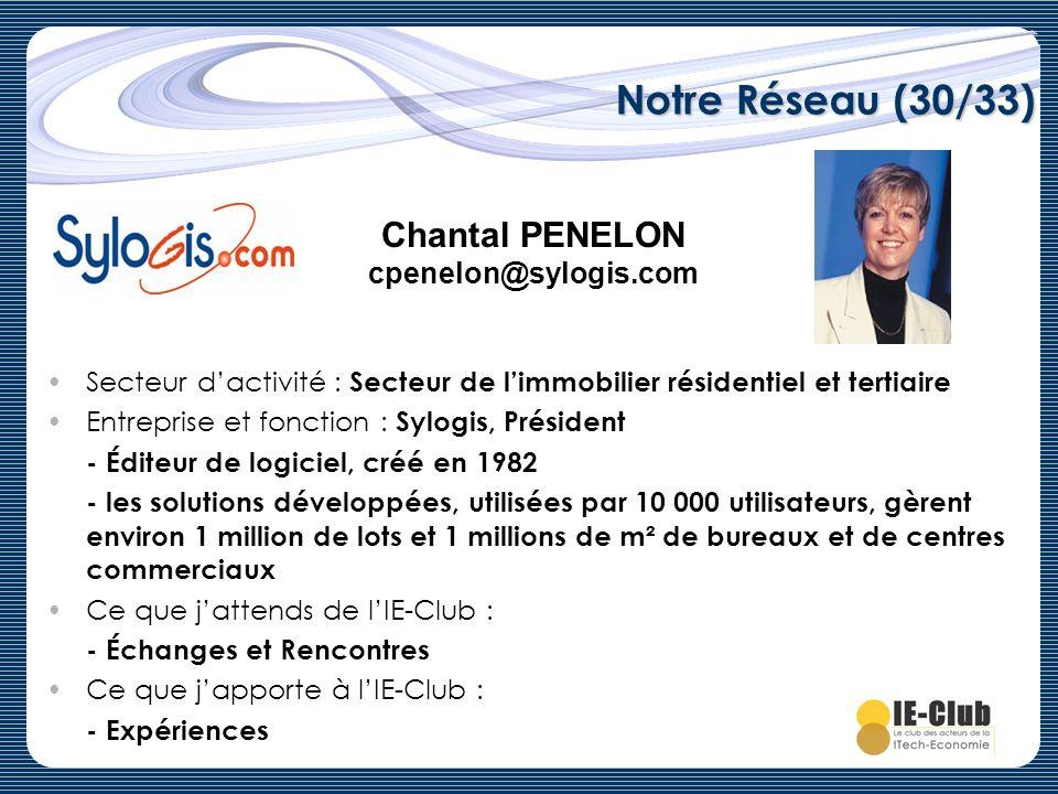 Notre Réseau (30/33) Chantal PENELON cpenelon@sylogis.com